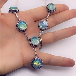 Jewelry - Mermaid Glass Sterling Silver Artisan Y Necklace